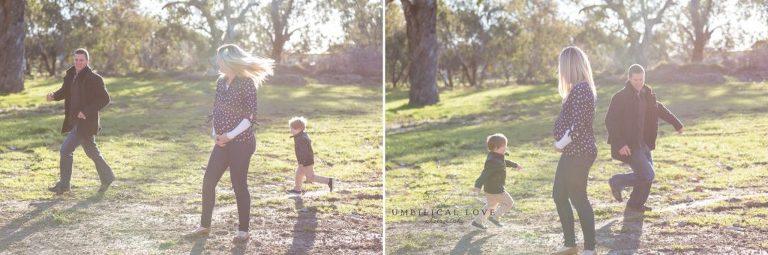 Little boy gets chased by dad around mum